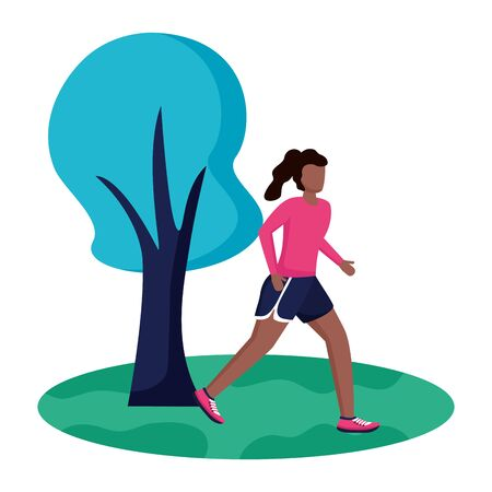 woman practicing running activity in the park vector illustration Zdjęcie Seryjne - 129858591