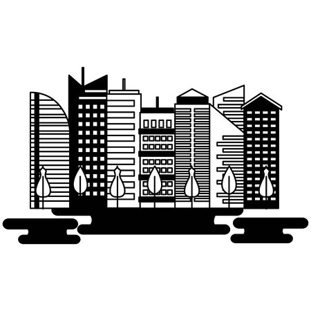 urban city downtown trees landscape vector illustration