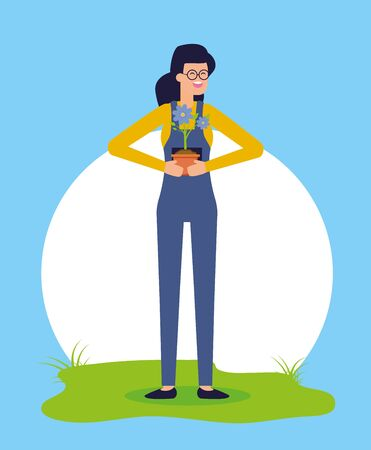 woman with potted flower gardening vector illustration
