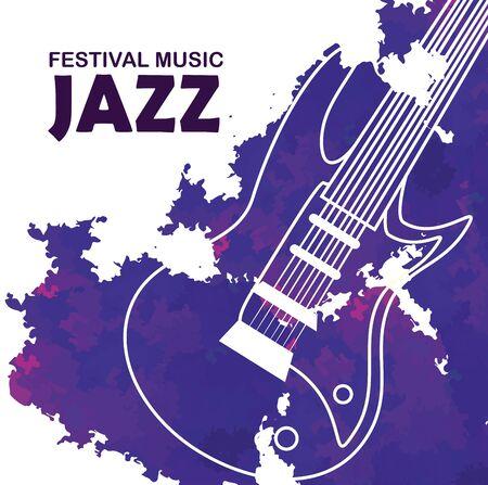 electric guitar to international jazz music vector illustration