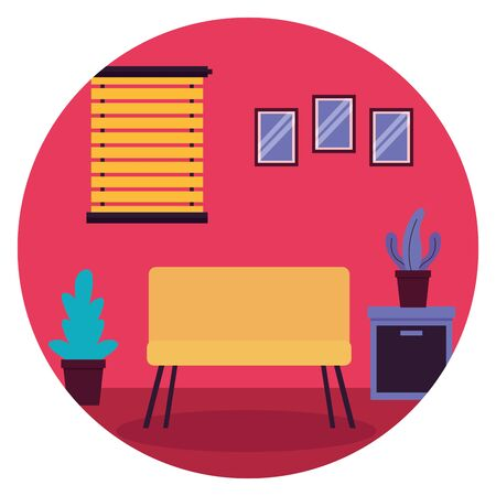 sofa window potted plant table furniture sticker vector illustration Ilustração