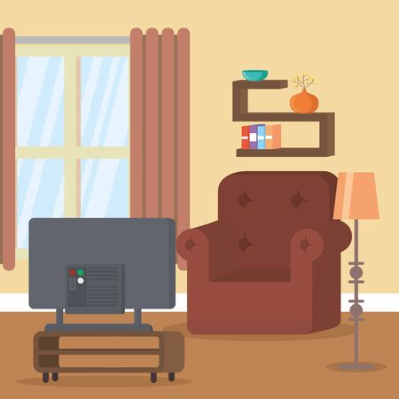 living room television stand lamp vector illustration