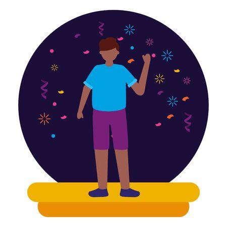 Celebrando la ilustración de vector de confeti de fiesta de carácter de hombre