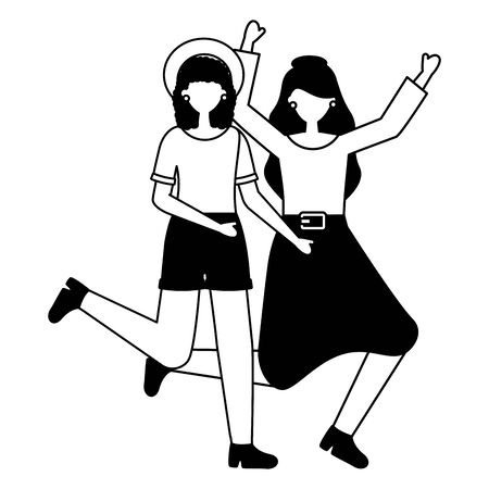 celebrating young women happy characters vector illustration white and black