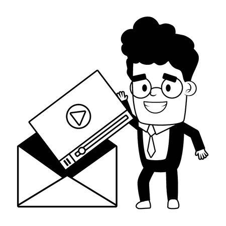 businessman with envelope web send email vector illustration Иллюстрация