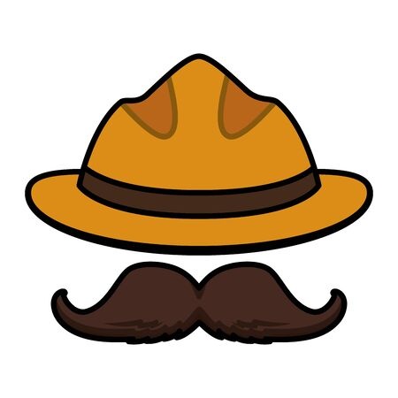 hipster hat moustache on white background vector illustration Ilustracja