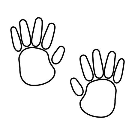 hands print colors paint icon vector illustration design