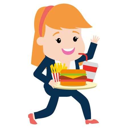 woman with sandwich french fries and soda fast food vector illustration Illustration