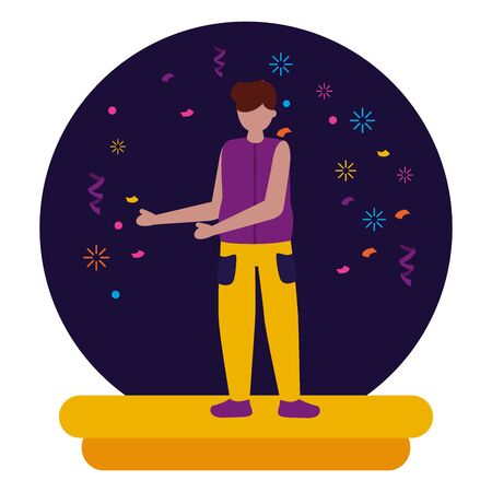 vieren man karakter partij confetti vectorillustratie Vector Illustratie