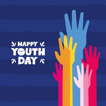 raised hands celebration happy youth day flat design vector illustration