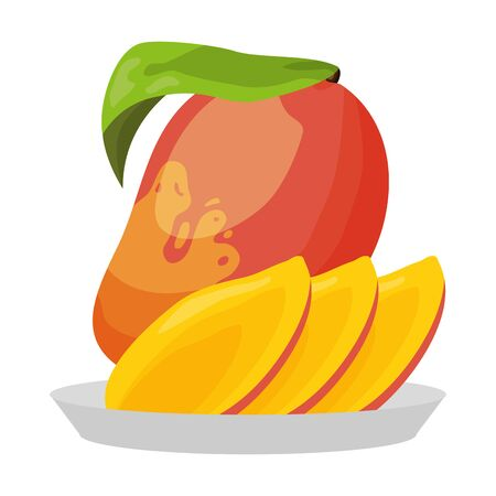 mango slice tropical fruits in dish vector illustration