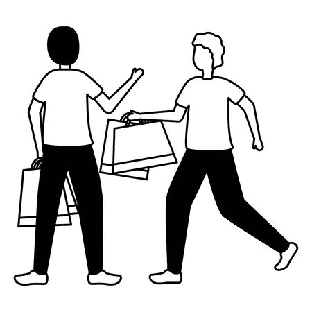 two men with shopping bags commerce vector illustration  イラスト・ベクター素材