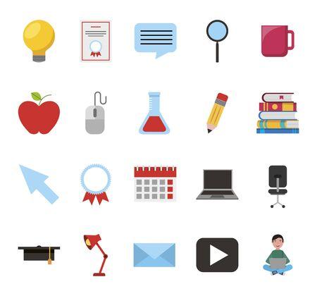 bundle of education set icons vector illustration design