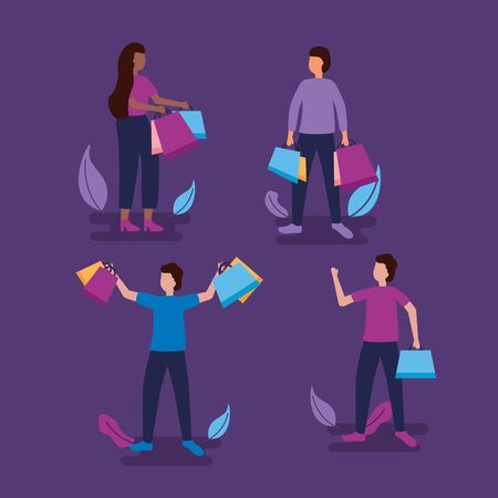 girl and boys hands up holding shopping bags vector illustration