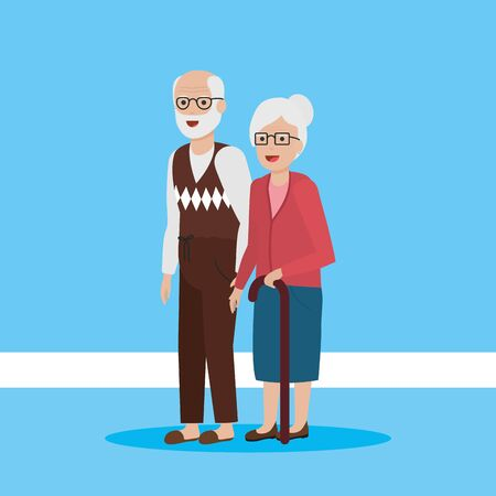 grandmother walking stick grandfather together vector illustration