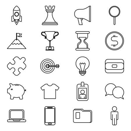 bundle of business monochrome set icons vector illustration design Stockfoto - 129937218
