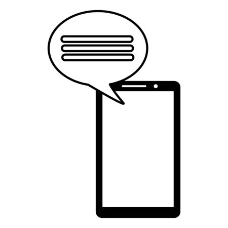 smartphone speech bubble message on white background vector illustration