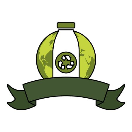 world bottle recycle emblem eco friendly environment vector illustration