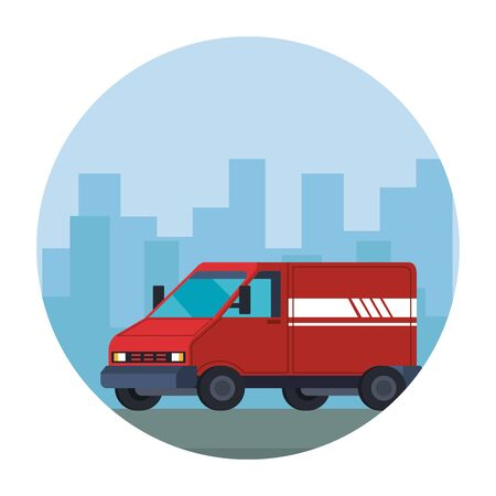 delivery van vehicle on the city vector illustration design