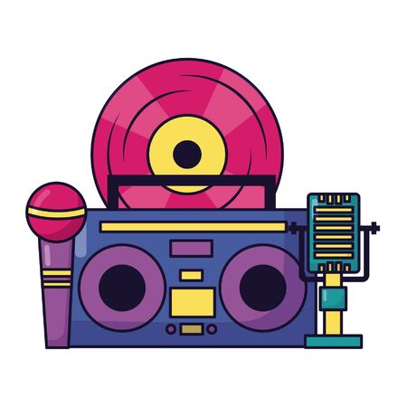 vinyl boombox stereo microphone music festival on white background vector illustration Illusztráció