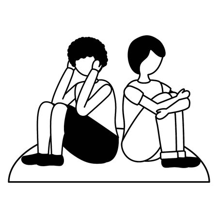 girl and boy with mental disorder psychological depressed vector illustration 向量圖像