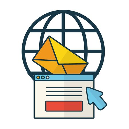 world website email message click vector illustration