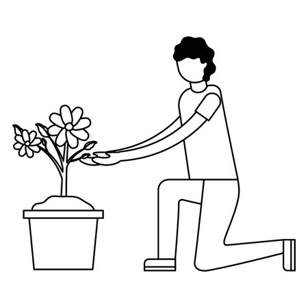 man with flower in pot decoration gardening flat design vector illustration