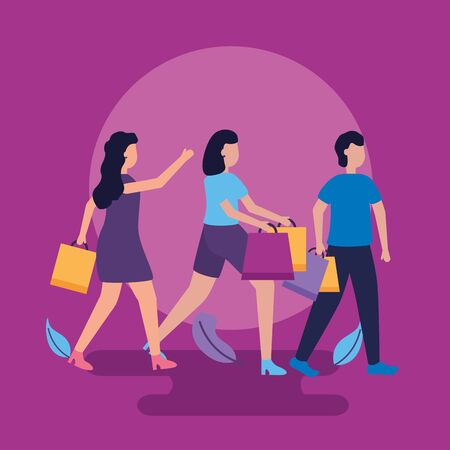 women and man carry shopping bags vector illustration Illustration