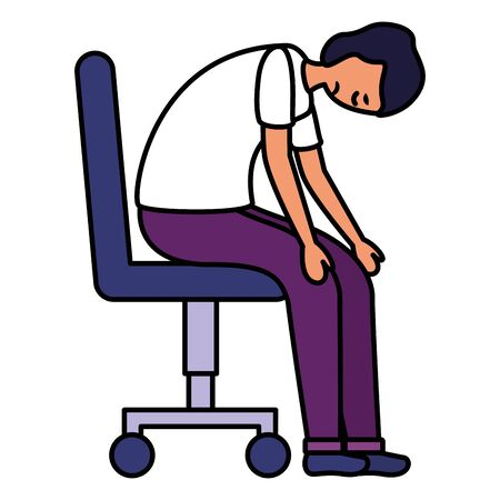 boy sitting on chair with sadness mental depressed vector illustration