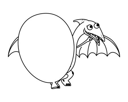 cute Pterodactyl with balloon helium vector illustration design Imagens - 129937310