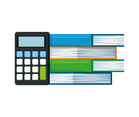 pile text books with calculator vector illustration design Stock Illustratie