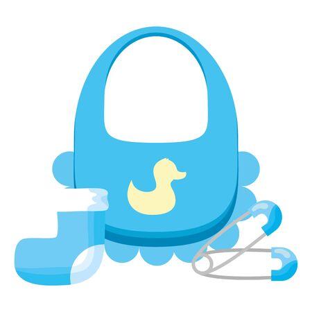 Alfileres de babero azul y decoración de calcetines baby shower tarjeta ilustración vectorial Ilustración de vector