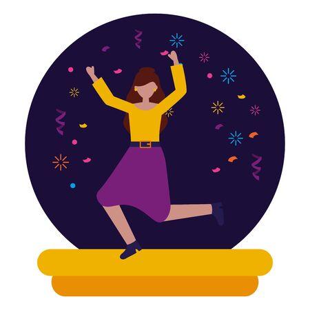 celebrating woman character party confetti vector illustration Ilustração