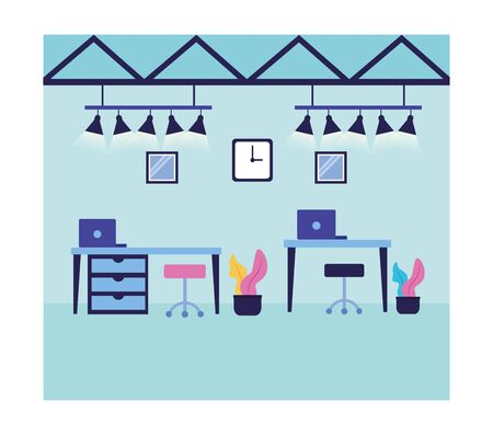 Office room design, Workforce corporate job occupation professional and workplace theme Vector illustration Illustration
