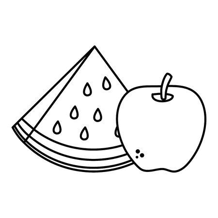 fresh watermelon and apple healthy food vector illustration design