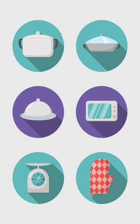 cooking icons balance microwave oven glove vector illustration