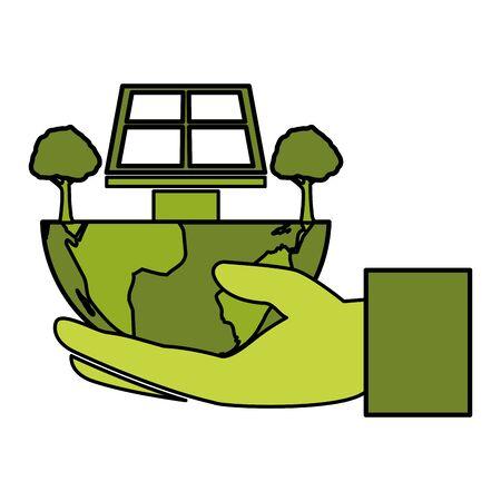 hand holding world solar panel trees eco friendly environment vector illustration Ilustracja