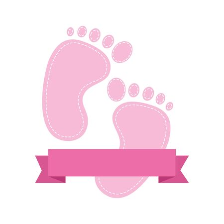 baby shower card with footprints vector illustration design Standard-Bild - 129937373