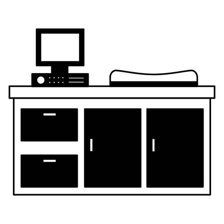 hospital furniture medical computer blanket vector illustration