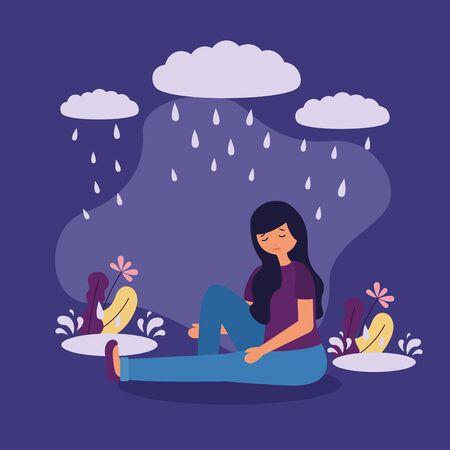 Niña triste trastorno mental psicológico deprimido ilustración vectorial Ilustración de vector