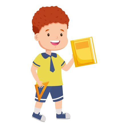 boy student with book back to school vector illustration