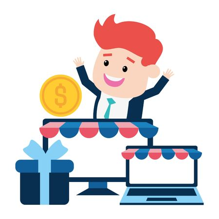 businessman online payment laptop computer gift money vector illustration Çizim