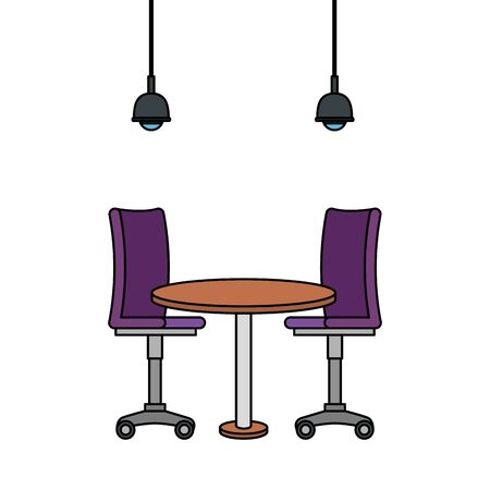 office chair with wooden table vector illustration design
