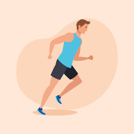 fitness man running to practice sport over pink background, vector illustration