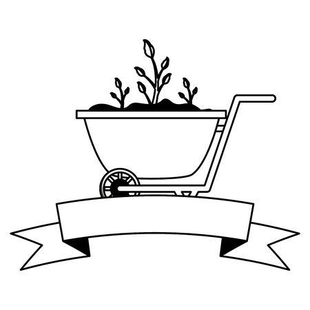 wheelbarrow plants decoration gardening flat design vector illustration Vetores