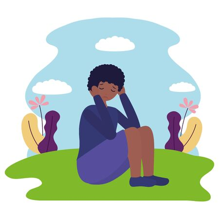 girl sitting mental disorder psychological depressed vector illustration