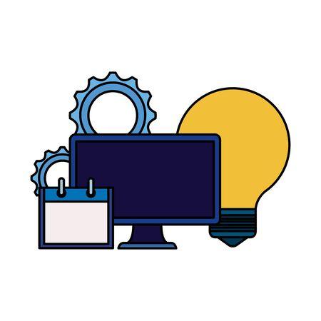 desktop computer with bulb and calendar vector illustration design Illusztráció