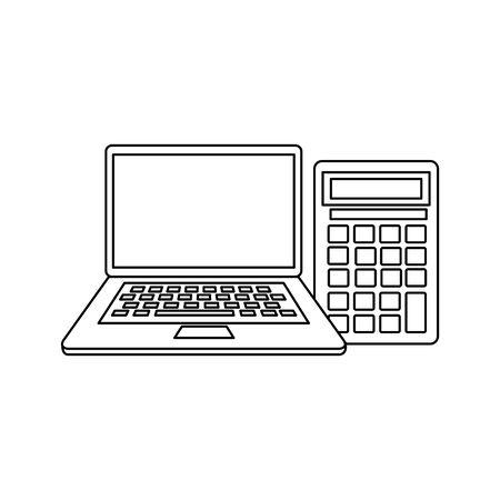 calculator math and laptop devices vector illustration design Illusztráció