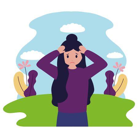 Chica con ilustración de vector de depresión psicológica mental
