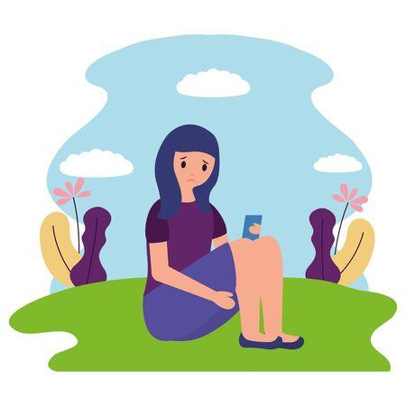 girl sitting mental disorder psychological depressed vector illustration